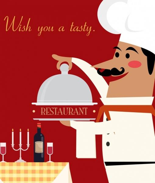 restaurant banner cook utensils icons colored cartoon