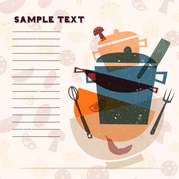 restaurant banner kitchenware icons ingredient slices retro design