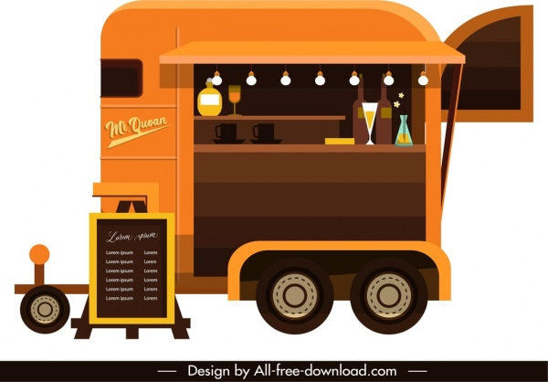 restaurant car icon colored classical sketch elegant decor