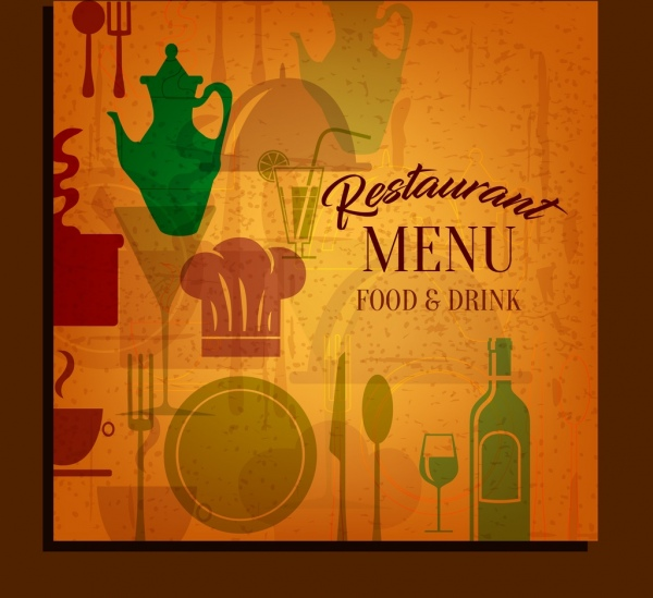restaurant cover template kitchenware icons classical flat design