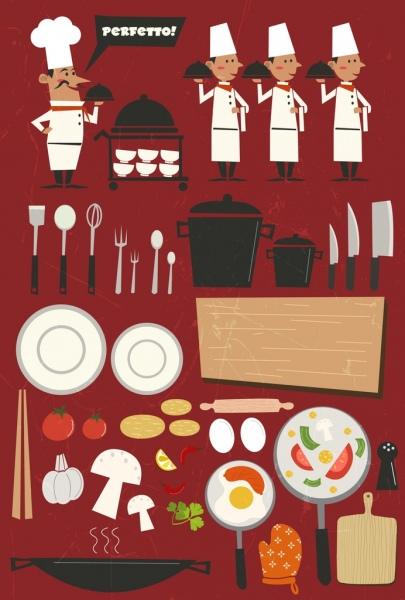 restaurant design elements chef waiter food kitchenwares icons