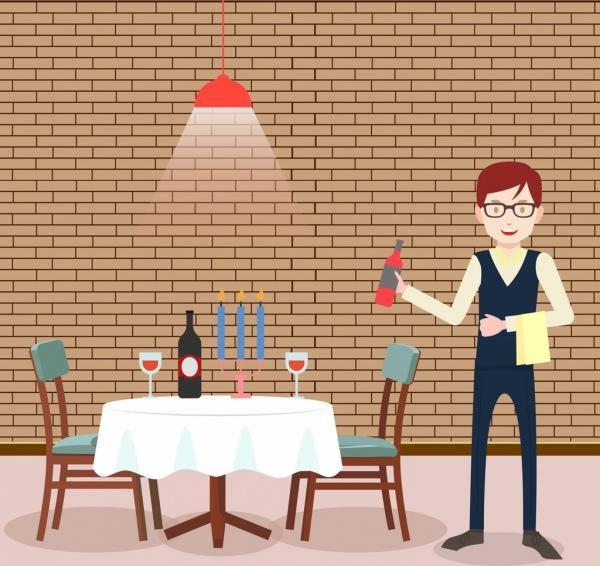 restaurant drawing waiter icon colored cartoon design