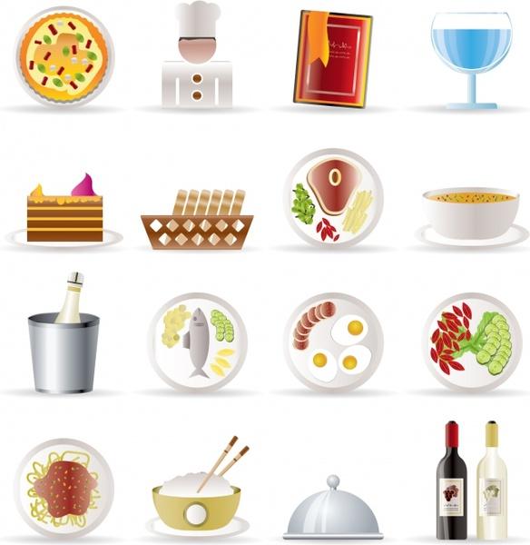 restaurant icons shiny modern colored symbols sketch