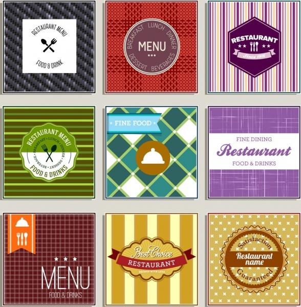 restaurant label sets colorful classical flat shapes