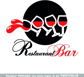 restaurant logos design elements vectors set