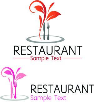 restaurant logos with menu illustration vector