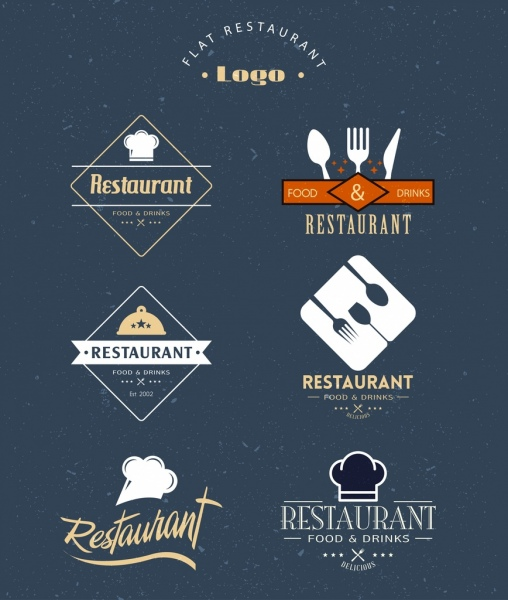 restaurant logotypes collection utensils icons texts decor