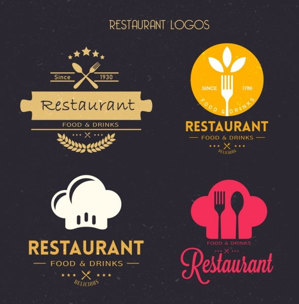 restaurant logotypes kitchenwares icons flat vintage decor