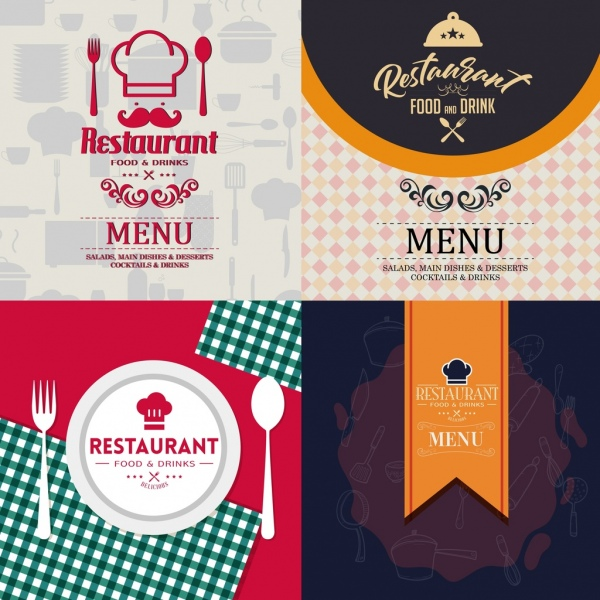 restaurant menu cover templates classical flat design