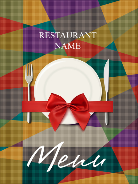 restaurant menu cover with geometry background