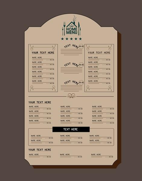restaurant menu design retro style on dark background