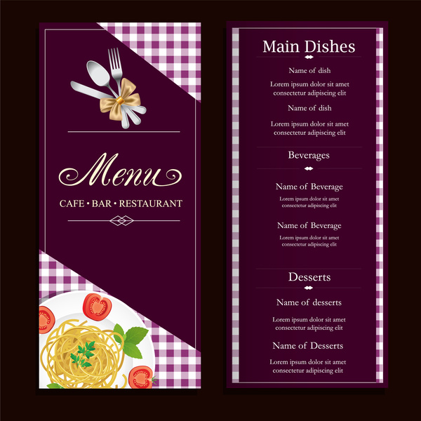 restaurant menu design with classical violet background free vector