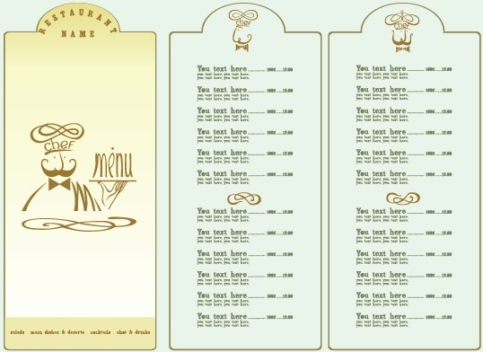restaurant menu list design elements free vector in encapsulated