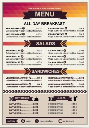 restaurant menu price list template vector free vector in