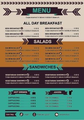 Restaurant Menu Price List Template Vector