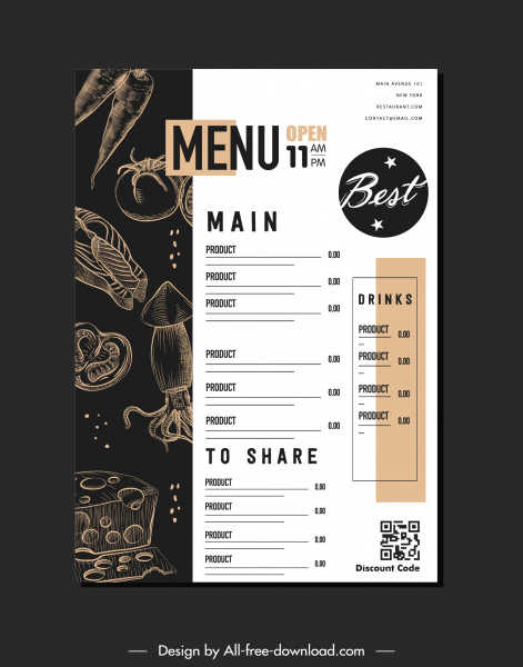 restaurant menu template black white contrast handdrawn decor