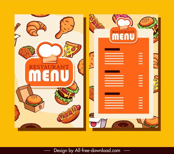 restaurant menu template bright colorful classic decor