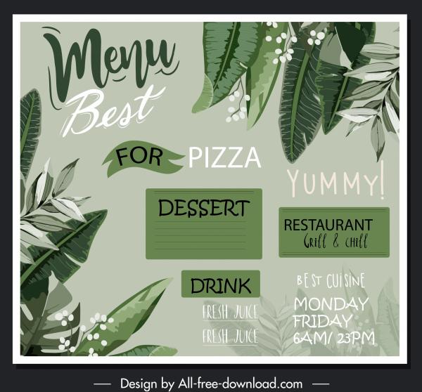 restaurant menu template classical handdrawn leaves decor