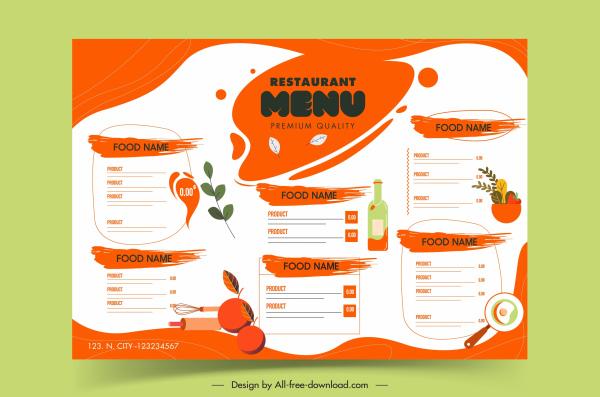 restaurant menu template colored flat grunge decor