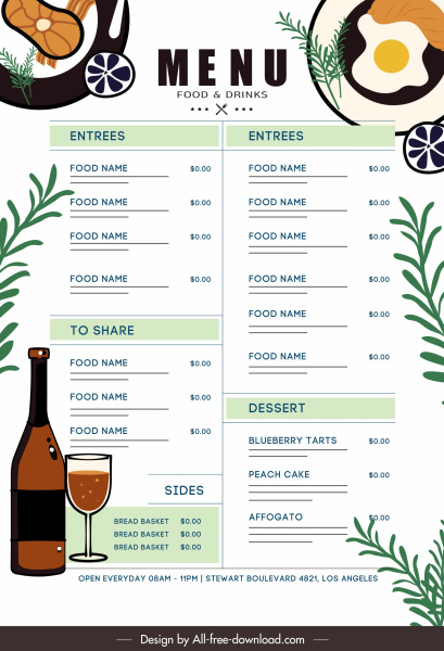 restaurant menu template elegant bright flat decor