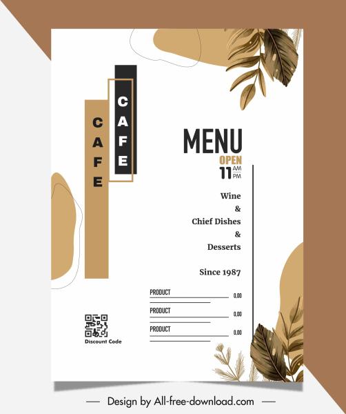 restaurant menu template elegant classical leaf decor
