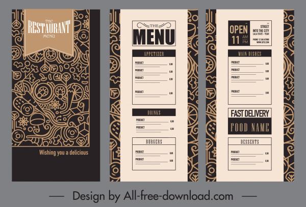 restaurant menu template elegant dark vintage sketch