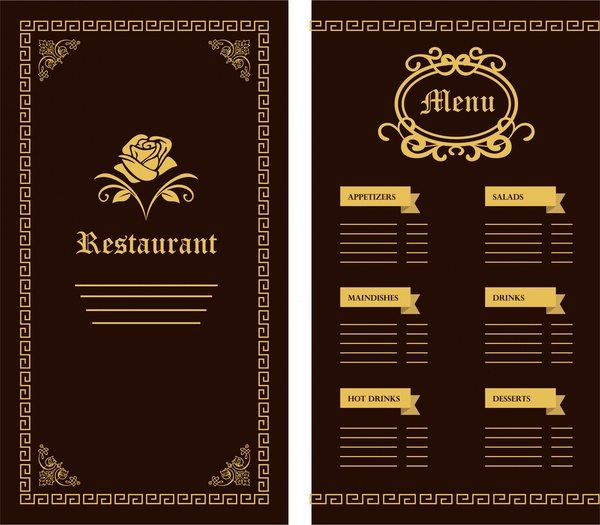 restaurant menu template flower classical design on dark free vector