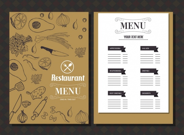restaurant menu template food icons classical handdrawn sketch free
