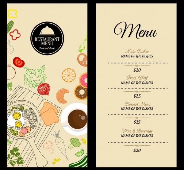 restaurant menu template food icons decoration classical design