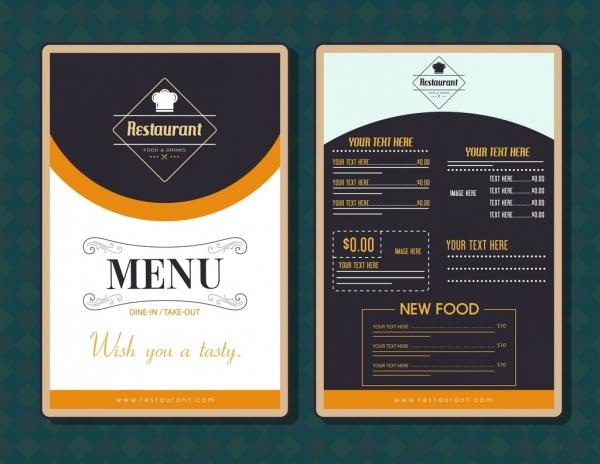 restaurant menu template modern black white decor