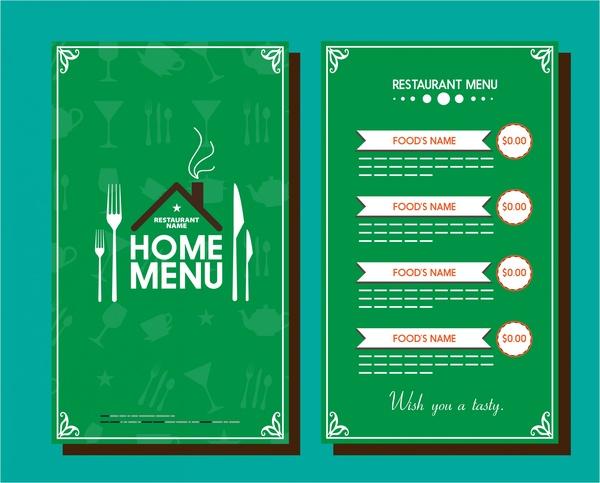 restaurant menu template vignette design on green background