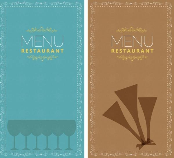 restaurant menu templates retro design flat glass sketch