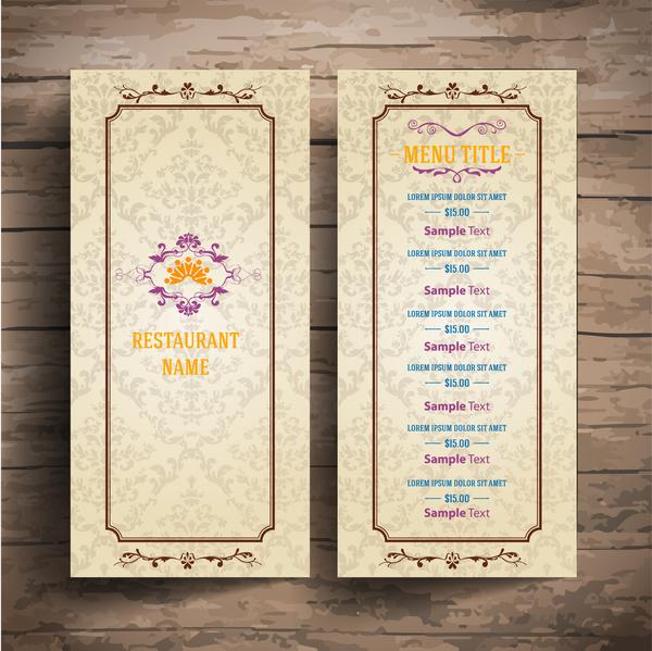 restaurant menu with classical border