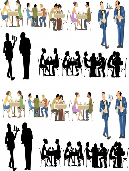 restaurant people icons multicolored silhouette cartoon sketch