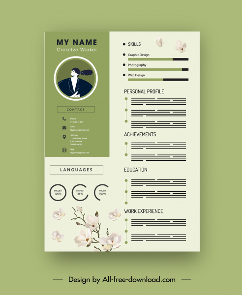 resume template bright elegant cherry blossom decor