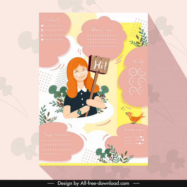 Resume template colorful cute decor girl icon Free vector in Adobe ...