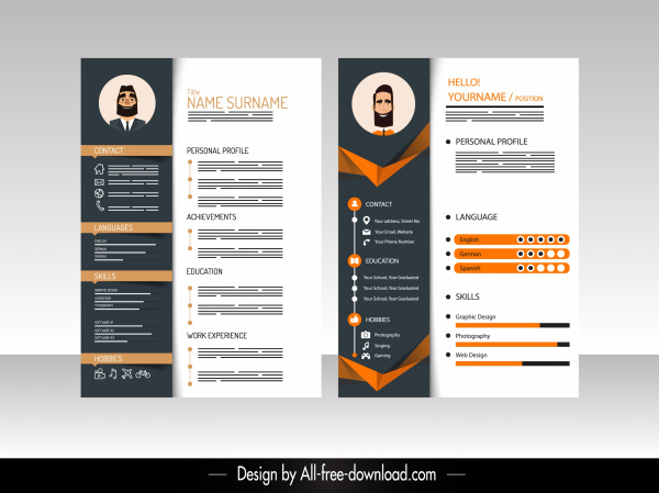 Illustrator Resume Templates from images.all-free-download.com