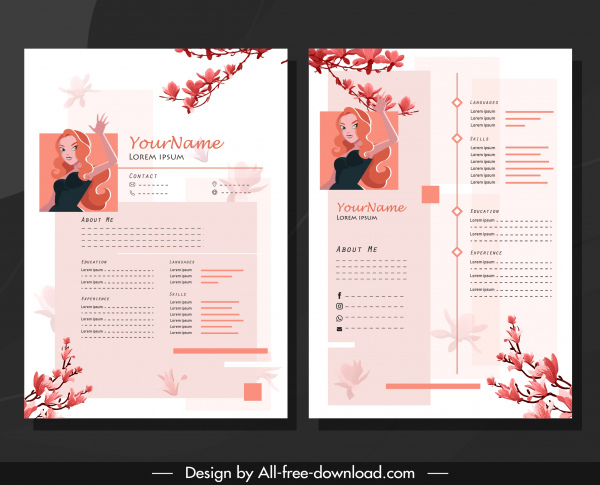 Resume Template Girl Floral Branch Decor Classical Design Free
