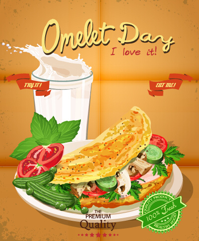 Retro advertising poster omelet food vector Free vector in ...