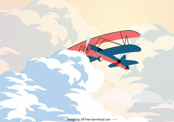 retro airplane painting cloudy sky decor cartoon design