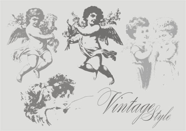 angel icons collection black white classical style