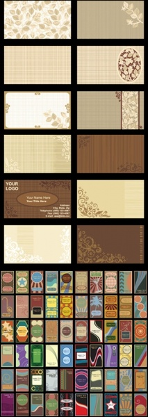 retro background card template vector