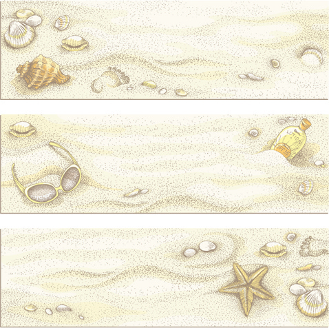 retro beach vector banners graphics