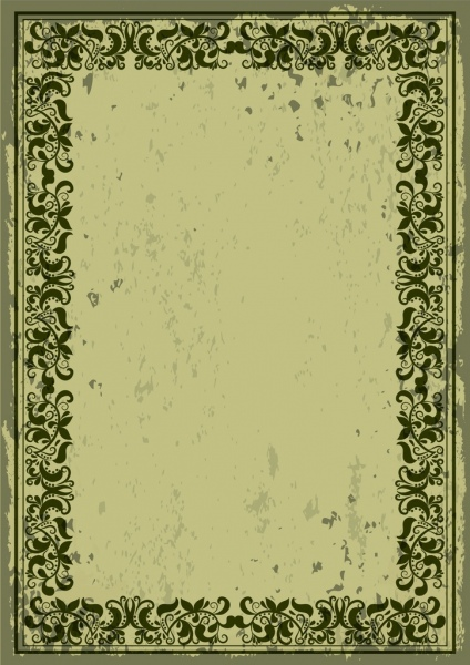 retro border design dark green classical flowers pattern