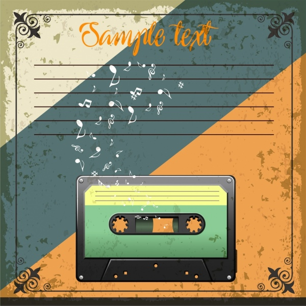 retro card template cassette tape music notes icons free vector in