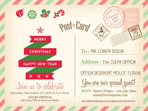 Retro christmas postcard vector template Free vector in Encapsulated ...