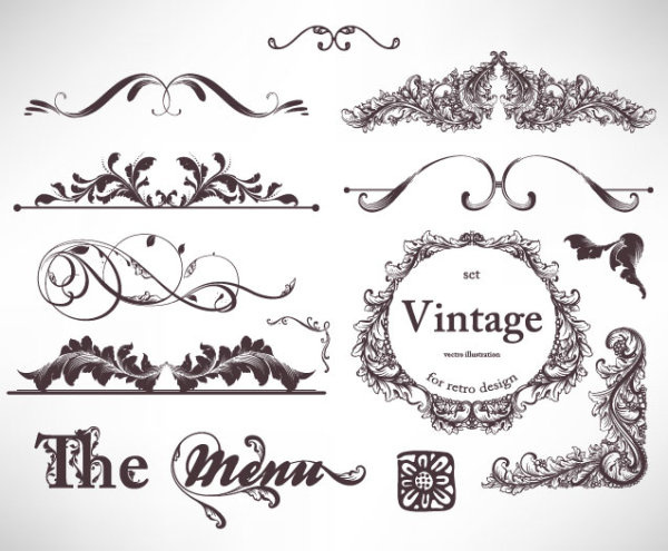Retro decorative ornaments frames and borders vector Free vector in ...