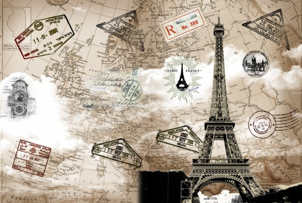 retro eiffel tower travel template layered