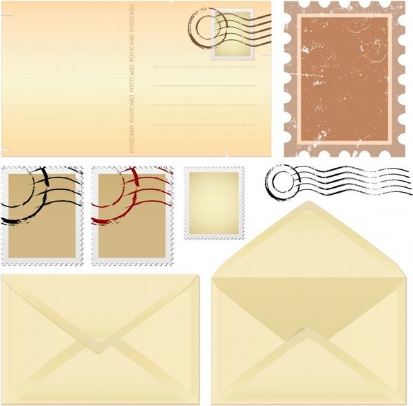 envelope stamp templates flat retro plain design