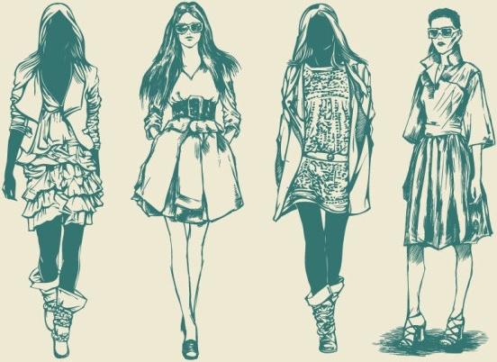retro fashion model 01 vector